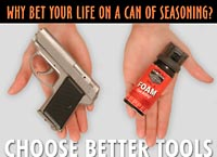A gun beats Pepper spray