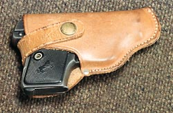 In a small leather holster